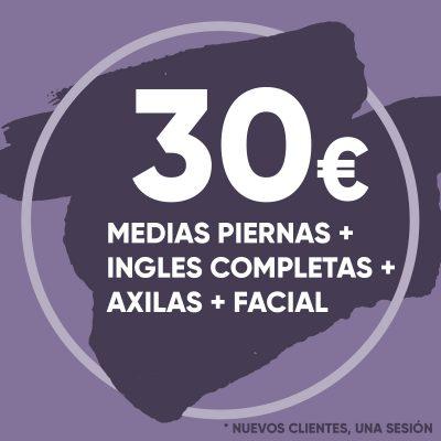 Depilación Láser Medias Piernas, Ingles Completas, Axilas y Facial