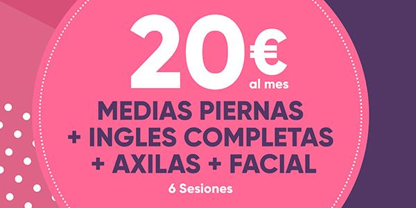 media piernas ingles completas axilas facial 6 sesiones